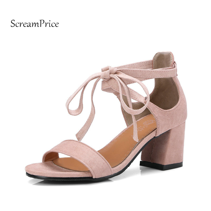 Suede Comfort Square Heel Open Toe Woman Sandals Fashion Lace Up Party High Heel Shoes Woman Black Pink Beige sandals new summer 2017 basic shoes woman open back strap sandal square heel fashion beige black 35 40 free shipping bassiriana