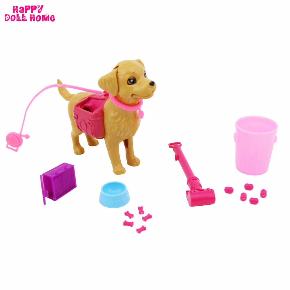 Plastic Dog Pet Sets Dog Food Bone Bowl Feeding Outside Dollhouse Accessories 1:6 Puppet For Barbie FR Kurhn Dollhouse Gift Toy