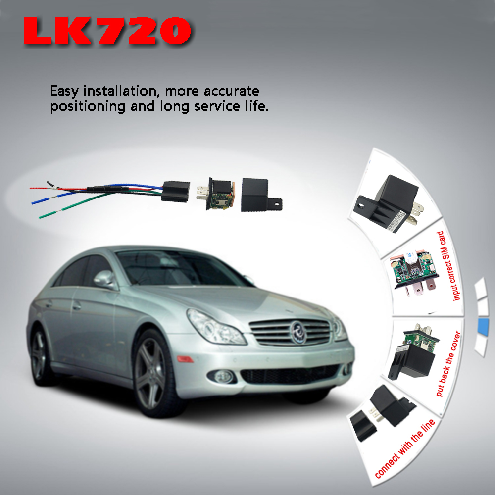 LK720 Relay-Shape GPS GSM GPRS Tracker LK720 Car vehicle Cut and Resume Oil Remotely LK720 Anti-lost Locating Tracker