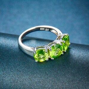 Image 4 - Anel huang de casamento feminino, 4.2ct natural peridot 925 prata de lei anéis verdes pedra preciosa elegante clássico joia para presente