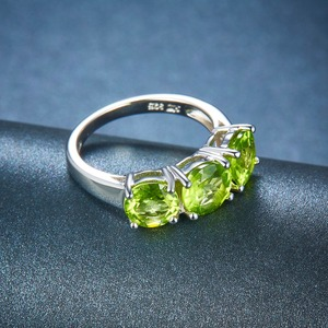 Image 4 - Hutang Wedding Womens Ring 4.2Ct Natural Peridot 925 Sterling Silver Rings Green Gemstone Fine Elegant Classic Jewelry for Gift