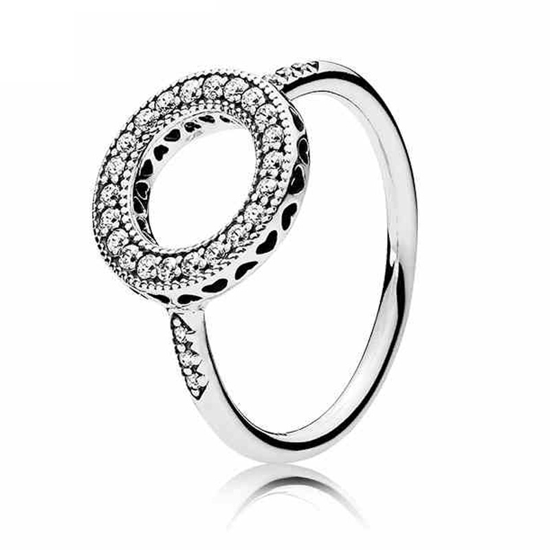 Authentic 925 Sterling Silver Ring Hearts of Halo With Crystal Rings For Women Wedding Party Gift Fine Pandora Jewelry