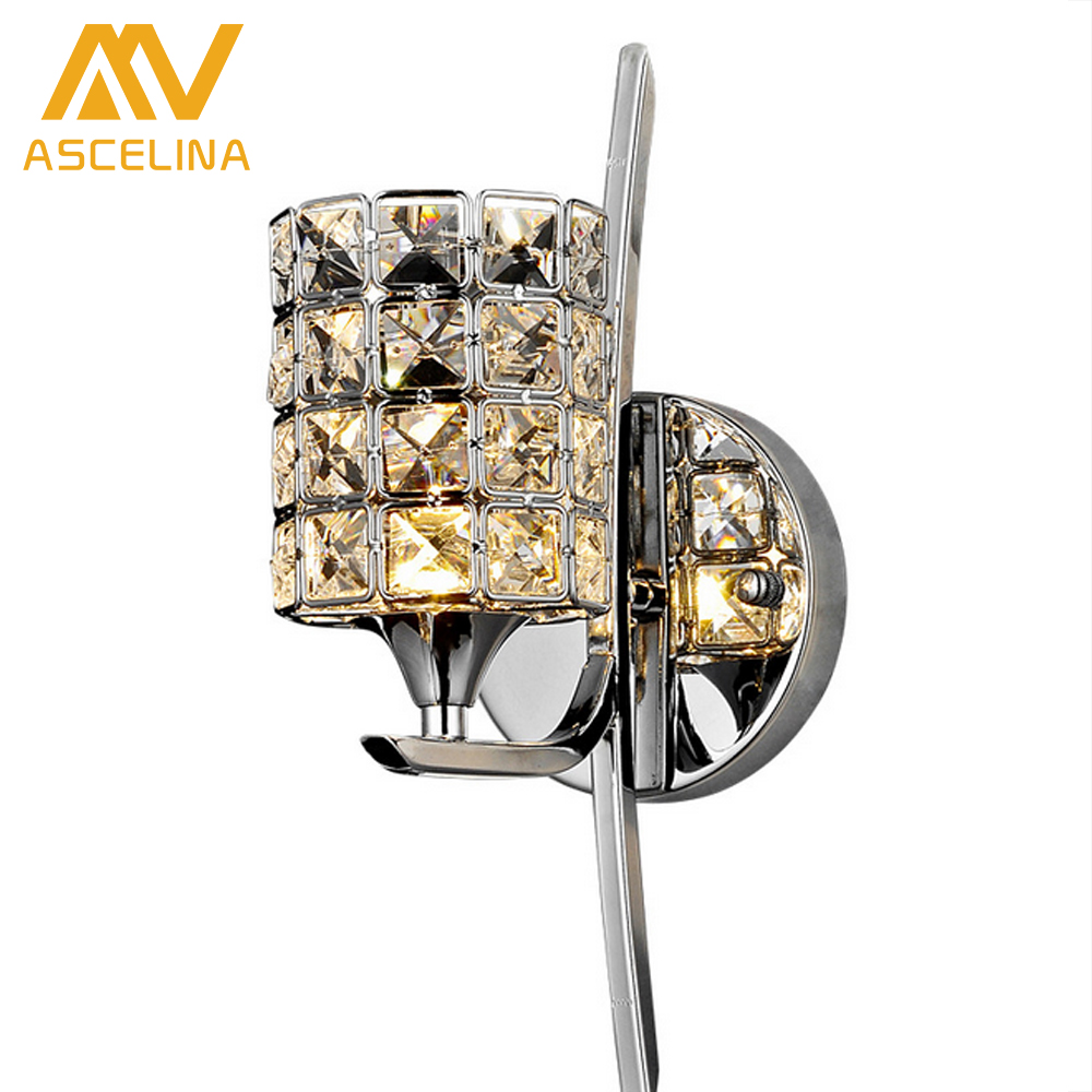 все цены на Modern Crystal Wall Lamp Sconce K9 E27 Bed room Stairs Aisle chandelier wall light fixture shade for Home Decor Luminaire