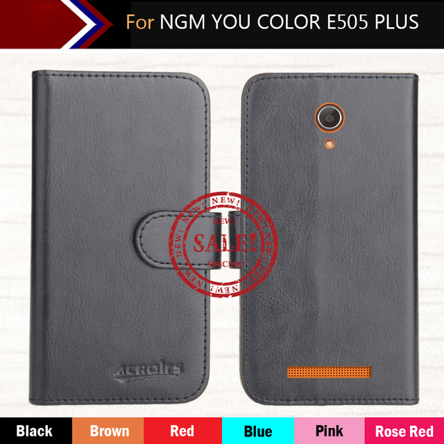"""Factory Direct! For NGM YOU COLOR E505 PLUS 5"""" Case 6 Colors Dedicated Leather Exclusive Phone Cover Crazy Horse Cases+Tracking"""