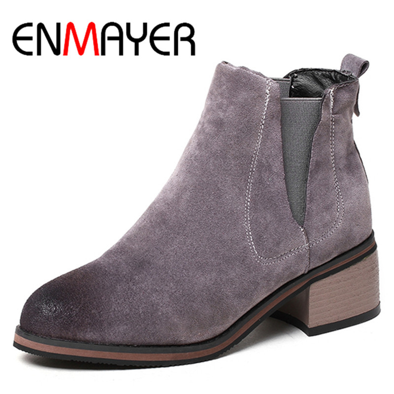 ENMAYER Slip-on Spring Autumn & Winter Ankle Boots for Women High Heels Round Toe Large Size 34-42 Motorcycle Boots Shoes Woman enmayla ankle boots for women low heels autumn and winter boots shoes woman large size 34 43 round toe motorcycle boots