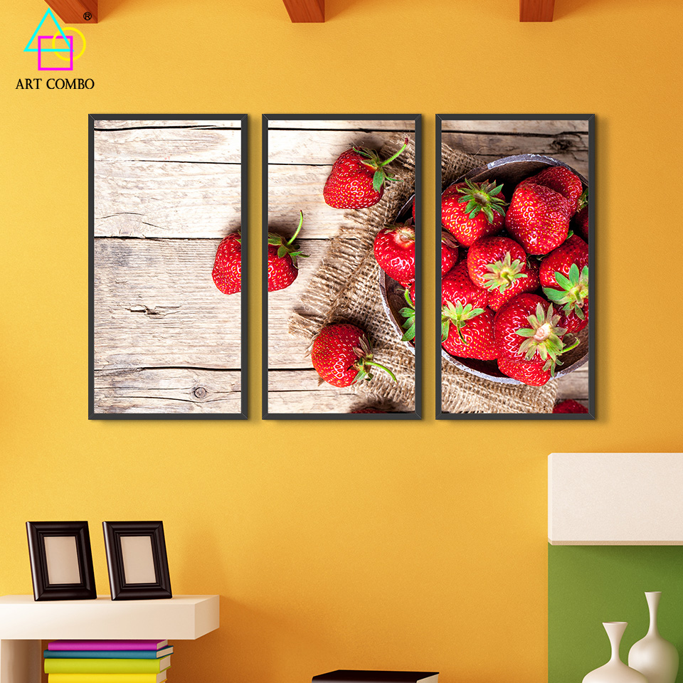 3 Panels Still Life Painting Fruit and Vegetable Home Decor Painting ...