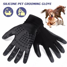 Silicone Pet Grooming Glove Black Adjustable Dog Cat Bath Hackle Gloves Perfect For Animal Brush Massage Hair removal Cleaning