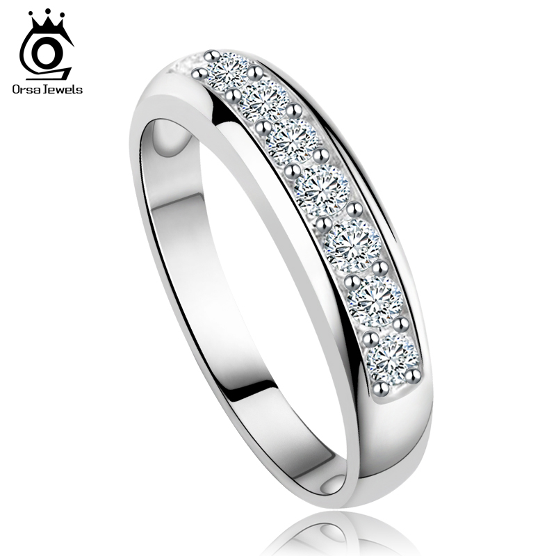ORSA JEWELS Luxury Austrian Zircon Wedding Band For Women Eternity Ring Wholesale Rose GoldSliver Color Supplier OR24 In Rings From Jewelry