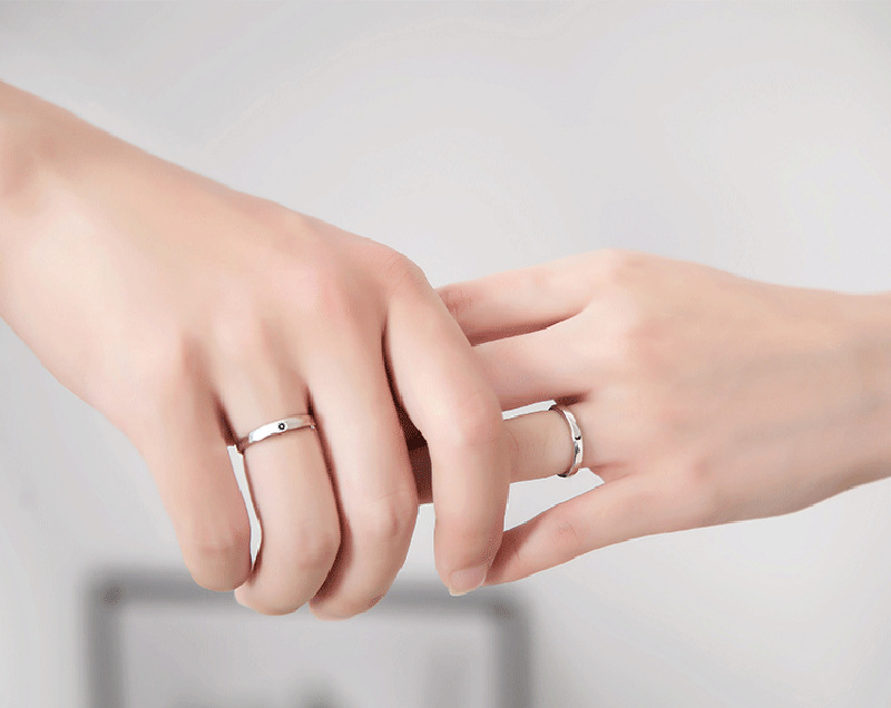 Silver Ring Simple Style Moon Sun Adjustable 925 Couple Rings For Girls Boys Best Friend Jewelry 9