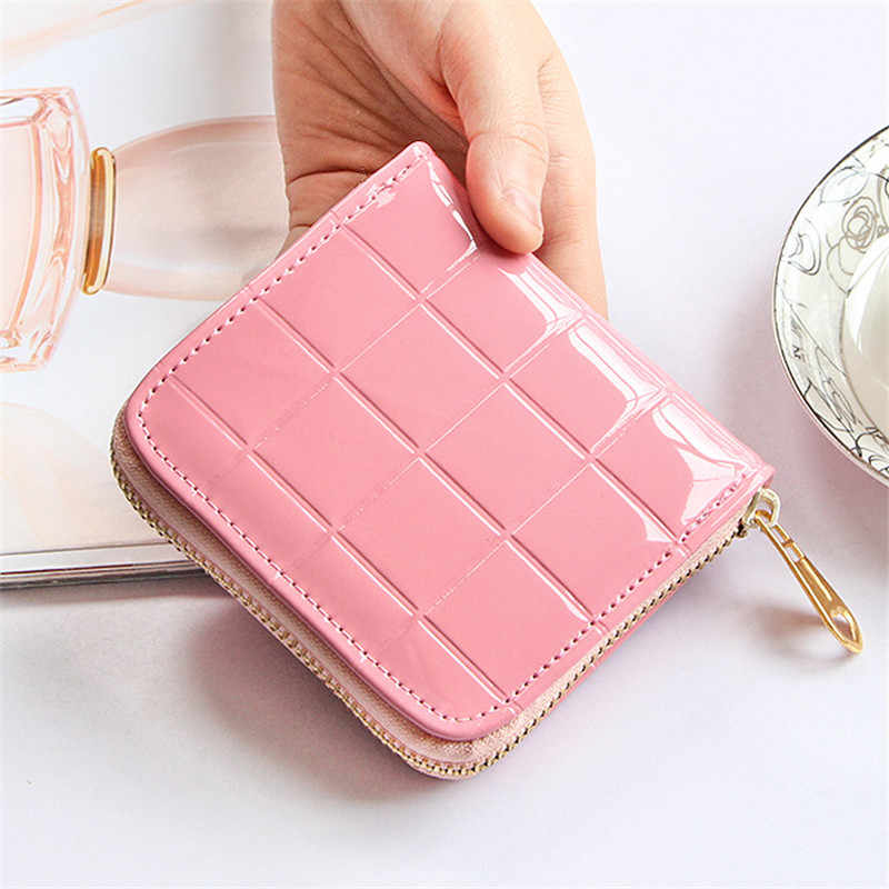 18c47cee0bcb ... Women Coin Purses Small Change Purses Short Wallet Patent Leather Coin  Bag Card Holder Pouch Mini ...
