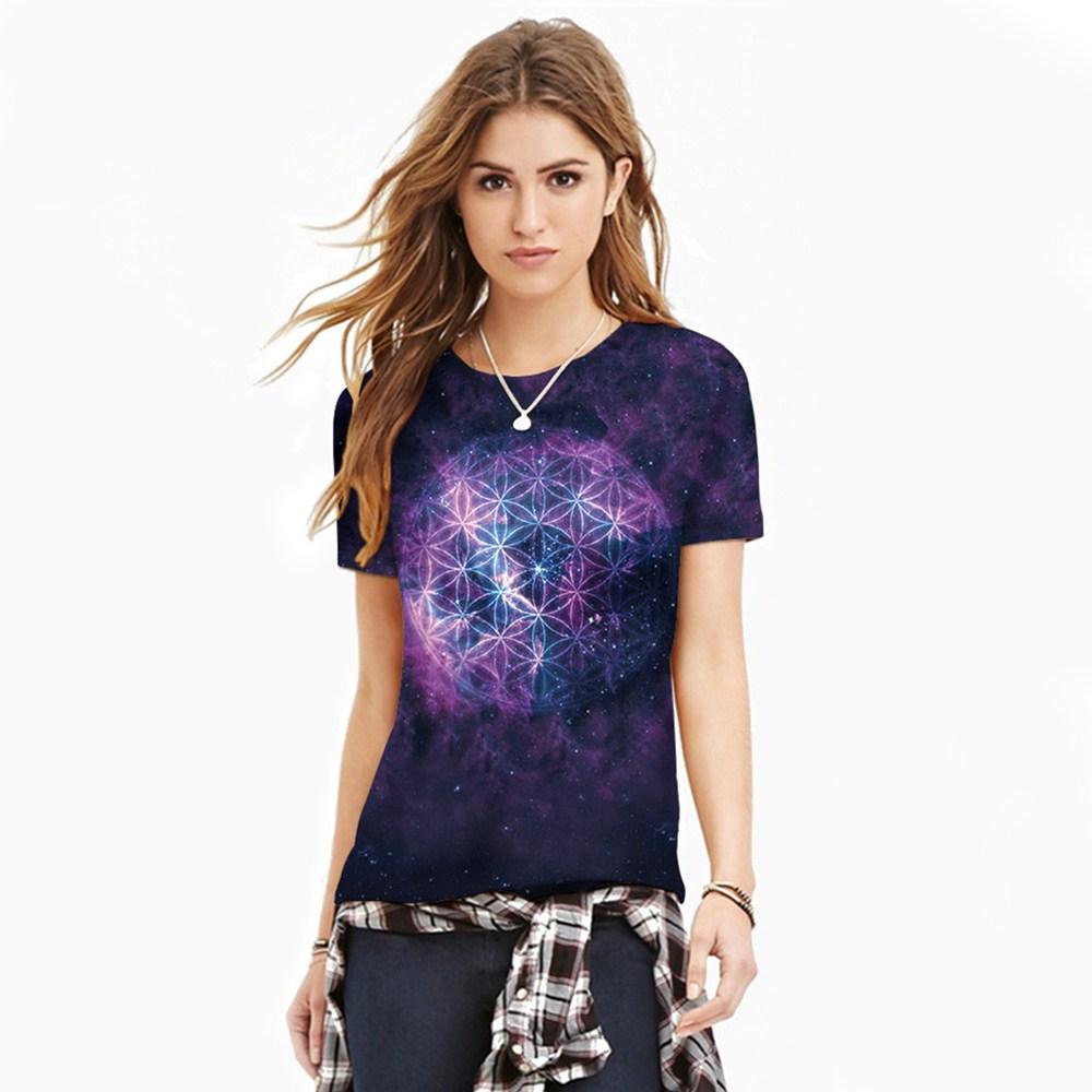 HTB1CkLRQXXXXXbxXFXXq6xXFXXXd - T-shirt blue sky digital print 3D short-sleeved women's shirt