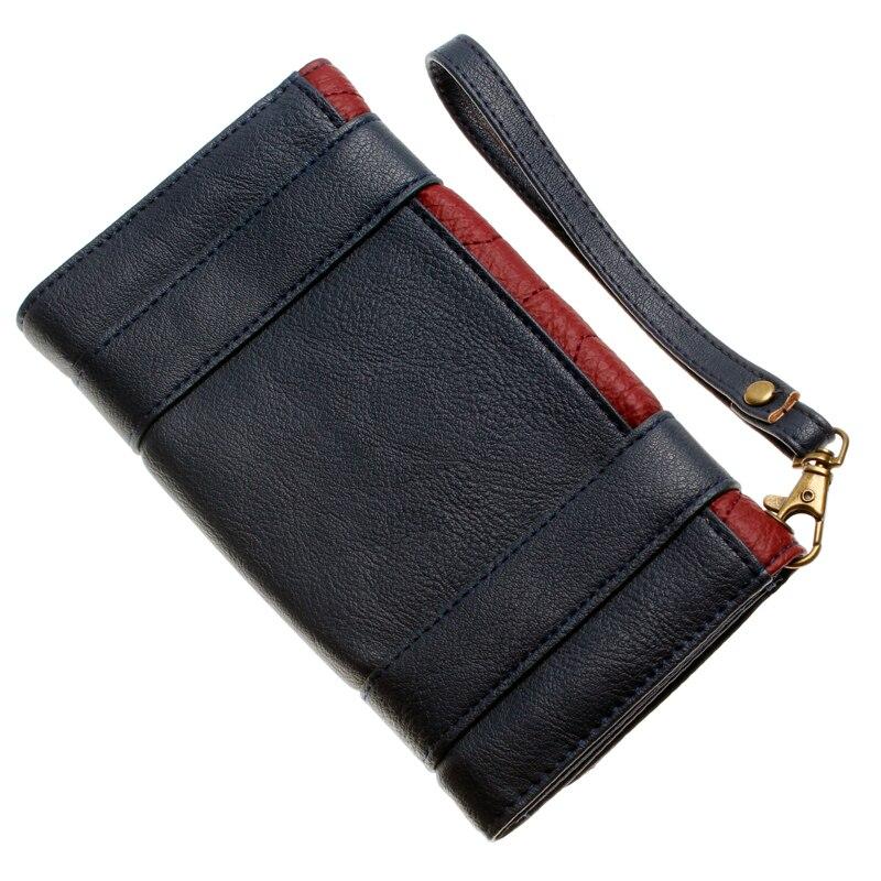 Wonder femme portefeuille double boucle tri pli rabat sac à main bleu/Bordeaux rouge brodé métal badge portefeuille femal DFT-6502 2
