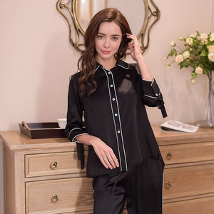 Image 5 - Genuine Silk Womens Pajamas 100% Silk Sleepwear Female High Quality Sexy Black Pyjama Pants Two Piece Sets T8148