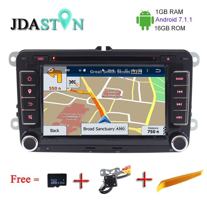 JDASTON 1G 16G 2 DIN ANDROID 7 1 1 Car GPS Radio DVD For Volkswagen VW