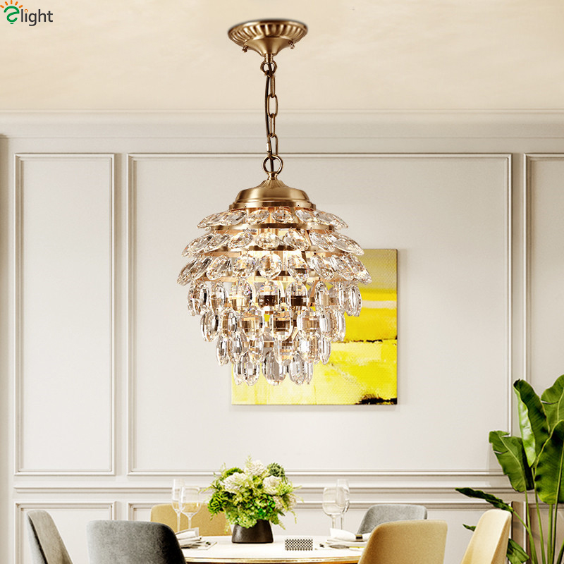 Europe Lustre Crystal Led Pendant Lights Copper Dining Room Led Pendant Lamp Living Room Led Pendant Light Hanging Lamp Fixtures mamei free shipping 3 lights crystal led pendant light fixtures for dinner room kitchen island led included