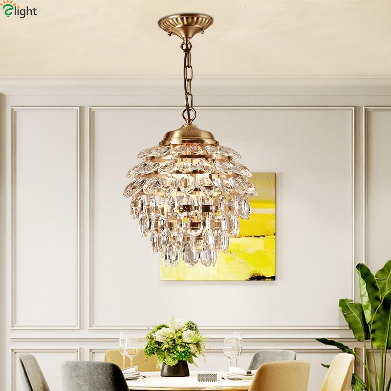 Europe Lustre Crystal Led Pendant Lights Copper Dining Room Led Pendant Lamp Living Room Led Pendant Light Hanging Lamp Fixtures|Pendant Lights| |  - title=