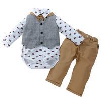 Fashion Baby Boys Gentleman Clothing Set 3Pcs Long Sleeve Romper Jacket Pant Clothes Set British Style