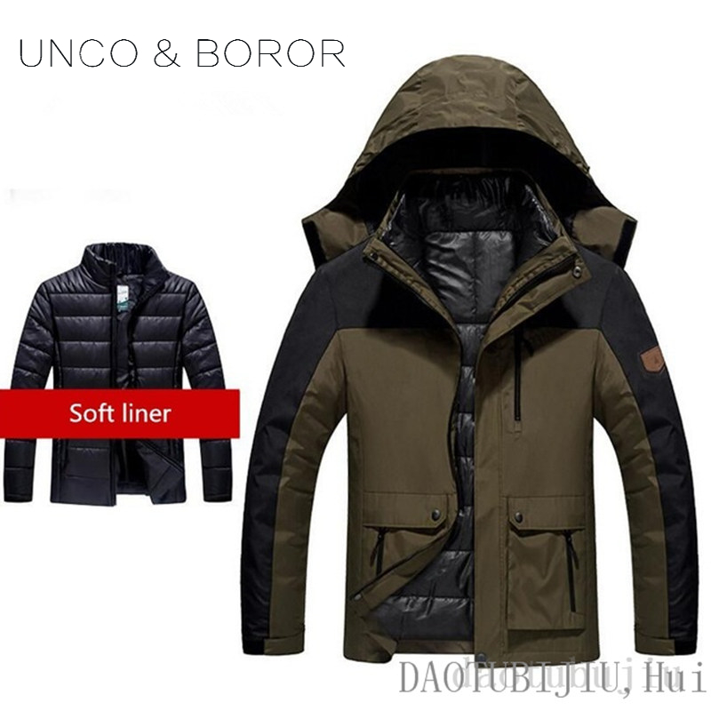 2018NEW UNCO&BOROR High End Couples Outdoor Jackets Camping Hiking Jacket Coat Climbing Three-in-one+Inner Gallbladder Jackets цены онлайн