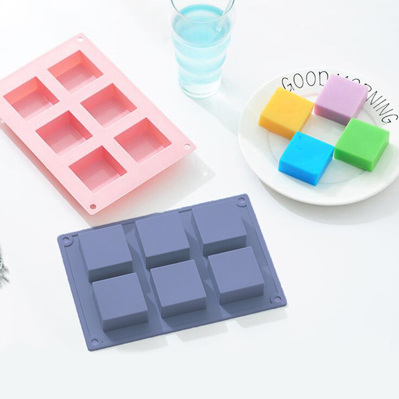 6 Cavity Silicone Plain Basic Rectangle Soap Mold Silicone Mould For Handmade Craft Soap Mold Candy Color