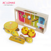 4pcs Set Wooden Toy Musical Instruments Carl Orff Musical Toys Drum Harmonica Castanet Sand Hammer Musical