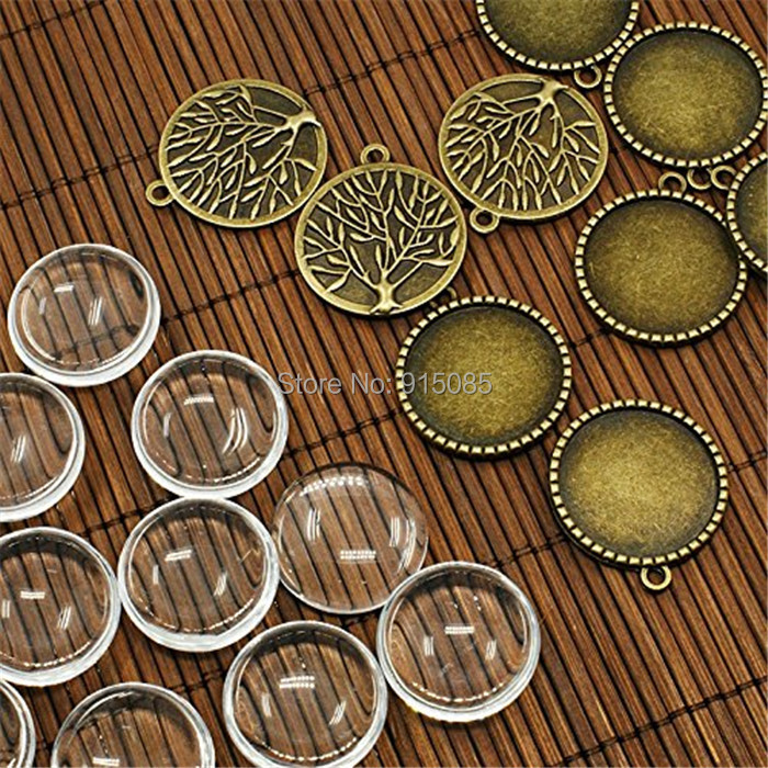 10 Sets Tree of Life Pendant Kit Antique Bronze Cameo Bezel with Glass 32x28mm Charms Cameo Cabochon base Tray Vintage Jewelry(China)