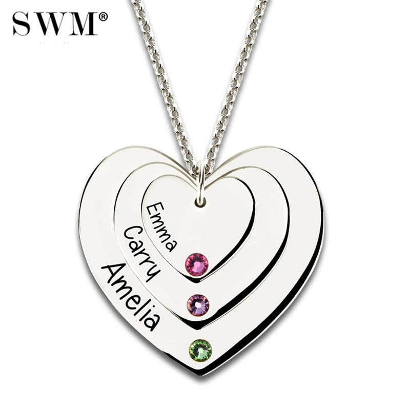 Costume Name Triple Love Heart Pendant Necklace Custom Letter Necklaces Sterling Silver Chain with Birth Stones Collier Femme