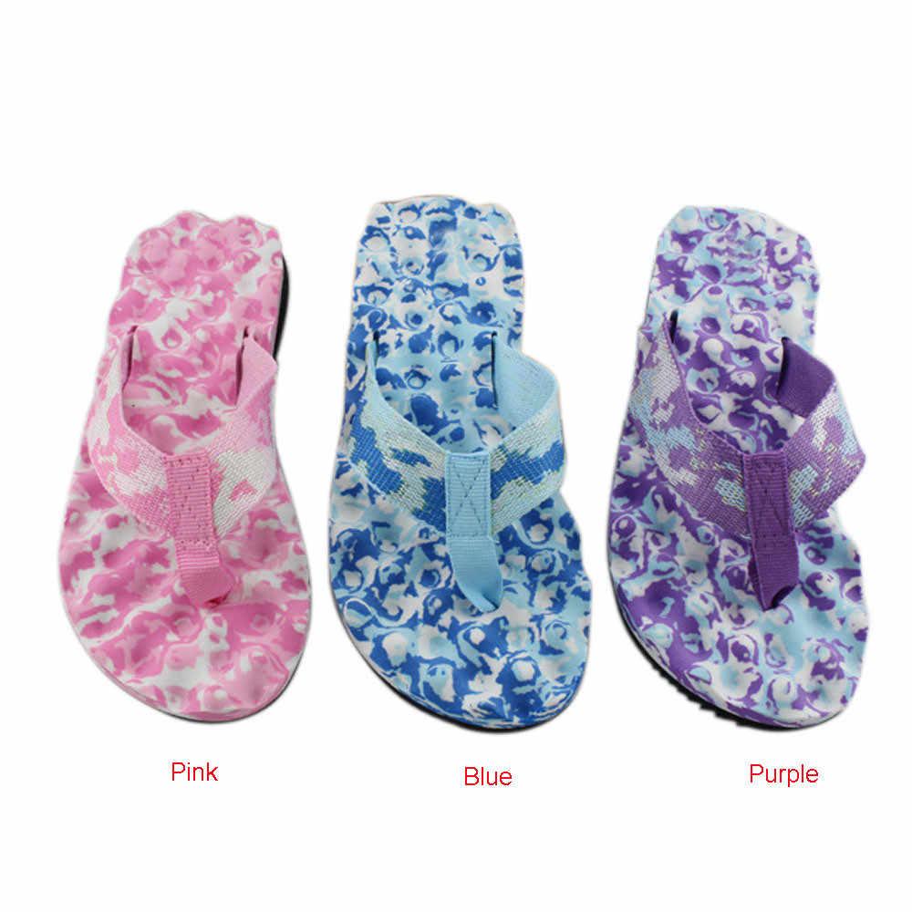 ผู้หญิงฤดูร้อน Flip Flops รองเท้าลวงตาฤดูร้อน Cool Beach รองเท้าแตะรองเท้าแตะในร่มกลางแจ้งคลิปสีม่วงสีฟ้าสีชมพู 36 -40