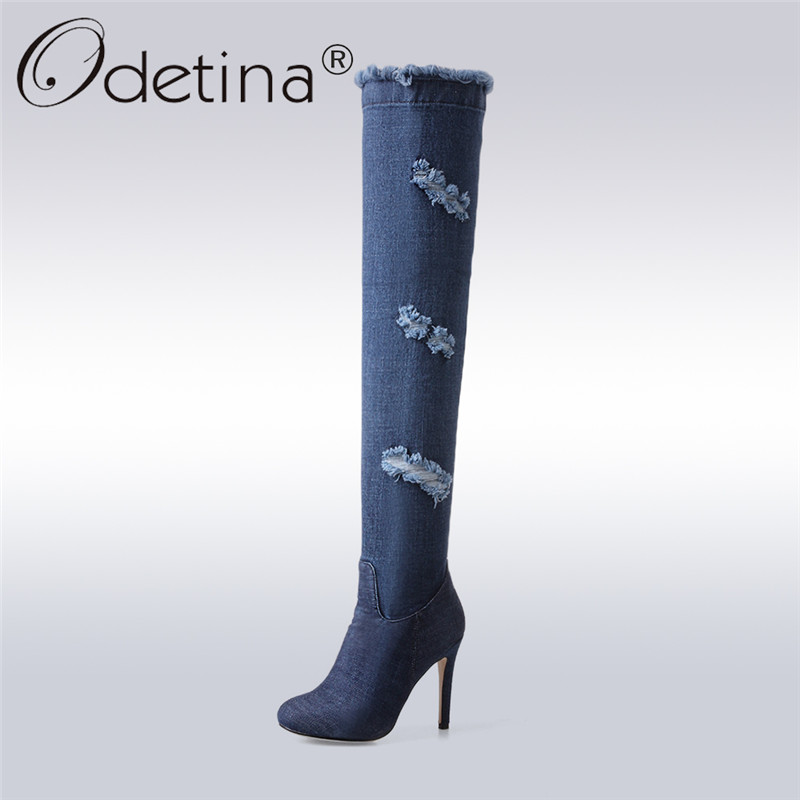 Odetina 2017 Fashion Blue Over The Knee Denim Boots For Women Thigh High Jeans Boots Stiletto High Heel Side Zipper Plus Size 43 men s cowboy jeans fashion blue jeans pant men plus sizes regular slim fit denim jean pants male high quality brand jeans