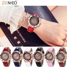 Модные роскошные женские наручные часы с кожаным ремешком кварцевые