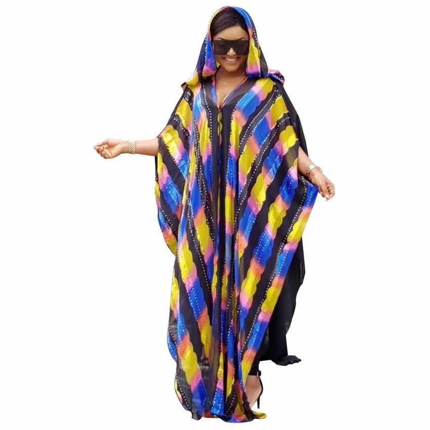 여성을위한 아프리카 드레스 후드 플러스 크기와 coloful 스트라이프 쉬폰 abaya 드레스 긴 내부 착용과 맥시 롱 드레스 가운