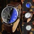 Nuevo Y Moda Relojes Pareja hombres de Oficina mujeres Números Romanos de Cuarzo Analógico Reloj de Pulsera De Cristal Azul Claro 5LGA 6T2T