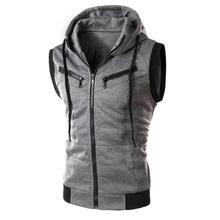 Color Block Summer Sports Men Zipper Sleeveless Fitness Hoodies Hooded Vest