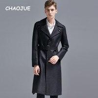 CHAOJUE Брендовые мужские черные удлиненные пальто из замши в английском стиле S к 6XL большой Размеры Тренч мужской Однобортный длинные бушлат