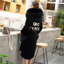 New Women's Fur Coat Autumn Winter 2016 Fashion Thick Warm Luxurious Collar Letter Pattern Hooded Long Cashmere Outerwear Female