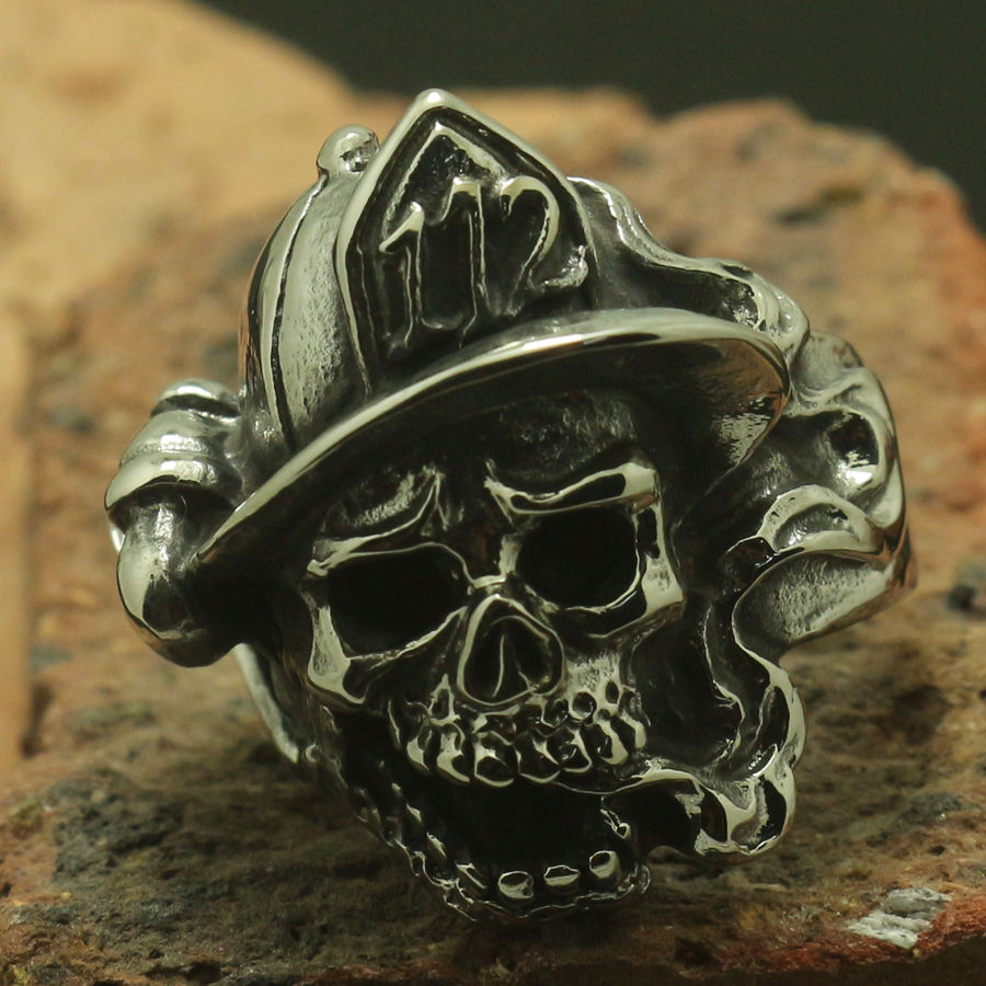 Men Boy 316L Stainless Steel Cool Silver Punk Gothic 112 Baseball Flaming Skull Ring Factory Price