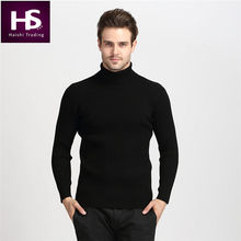 2016 Winter Thick Warm 100% Cashmere Sweater Men Turtleneck Men Brand Mens Sweaters Slim Fit Pullover Men Knitwear Double collar