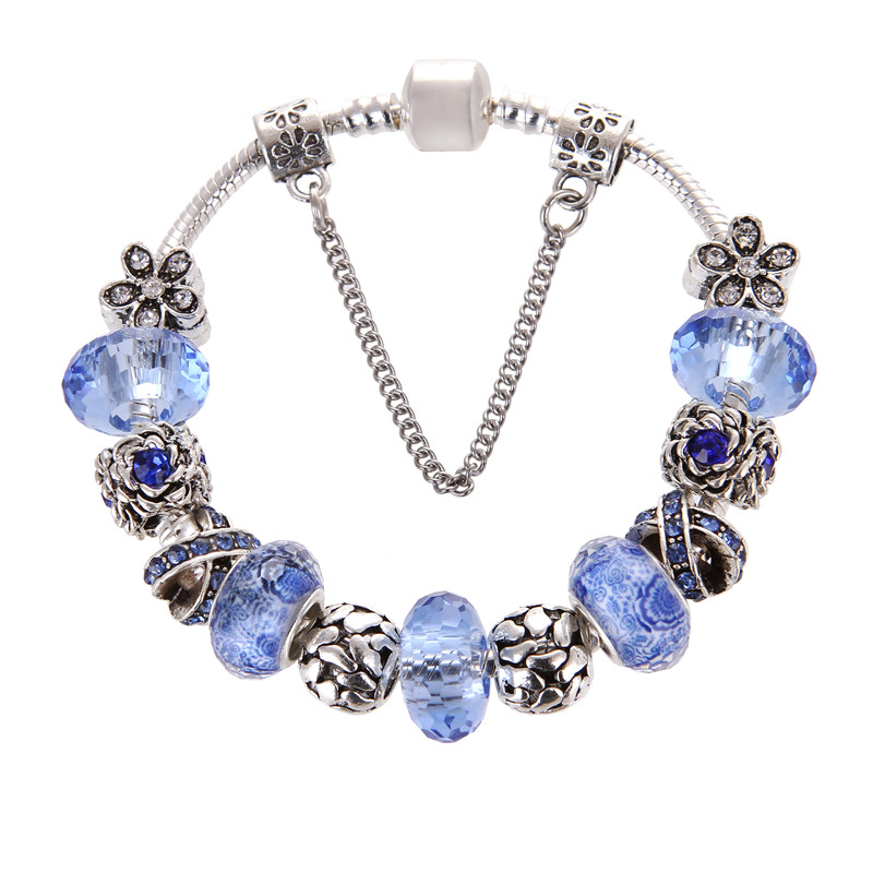 European Style Vintage Silver plated Blue Crystal Heart Flower Charm Pandora Bracelet For Women/Gril gift jewelry