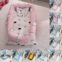 Bayi Kartun Percetakan Bionic Bed Bumper Portable Bayi Sarang Tempat Tidur Multifungsi Perjalanan Bed dengan Bumper Kasur untuk Bayi Tempat Tidur Bayi