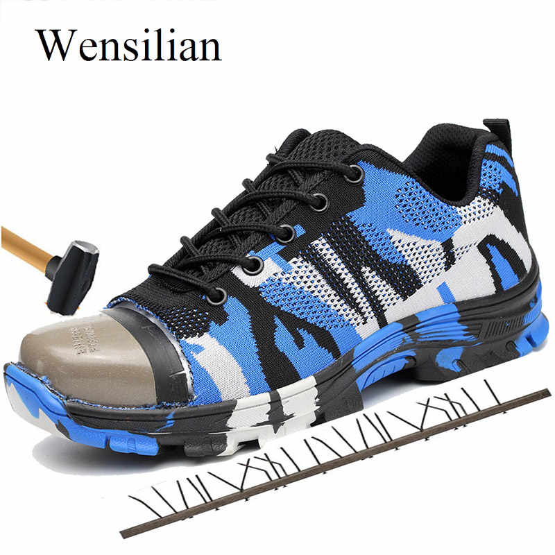 3184253f6 Running Shoes for Men Women Sneakers Safety Work Shoes Boots Man Steel Toe  Camouflage Male Sports