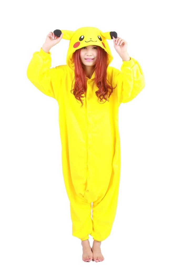 Unisex Fleece Adult Pikachu Onesies Animal Cosplay Costume Halloween Xmas Pajama