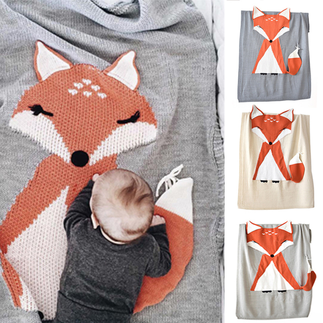 Imshie Baby Wool Blanket Fox Pattern With Ears Blanket Baby Knitted