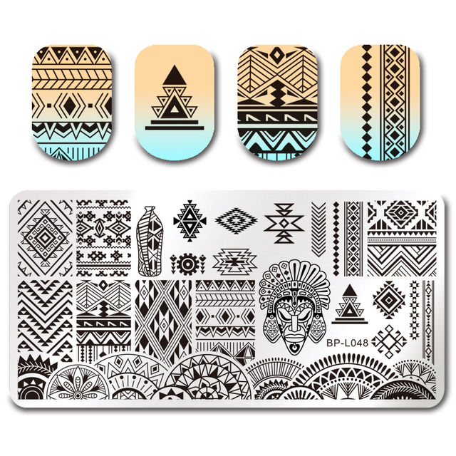 BORN PRETTY Geometry Rectangle Stamping Template Geometric Pattern Manicure Nail Art Stamp Image Plate