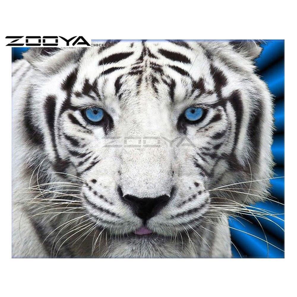 ZOOYA 5D DIY Diamond White Tiger Close-up Animal Diamond Painting Cross Stitch Square Drill Mosaic Decoration BK1064