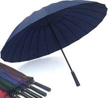 Golf Umbrella Solid Windproof Straight Handle Anti-UV Sun/Rain/Snow Glassfiber Rib Large Outdoor Umbrella Sport Big Parasol