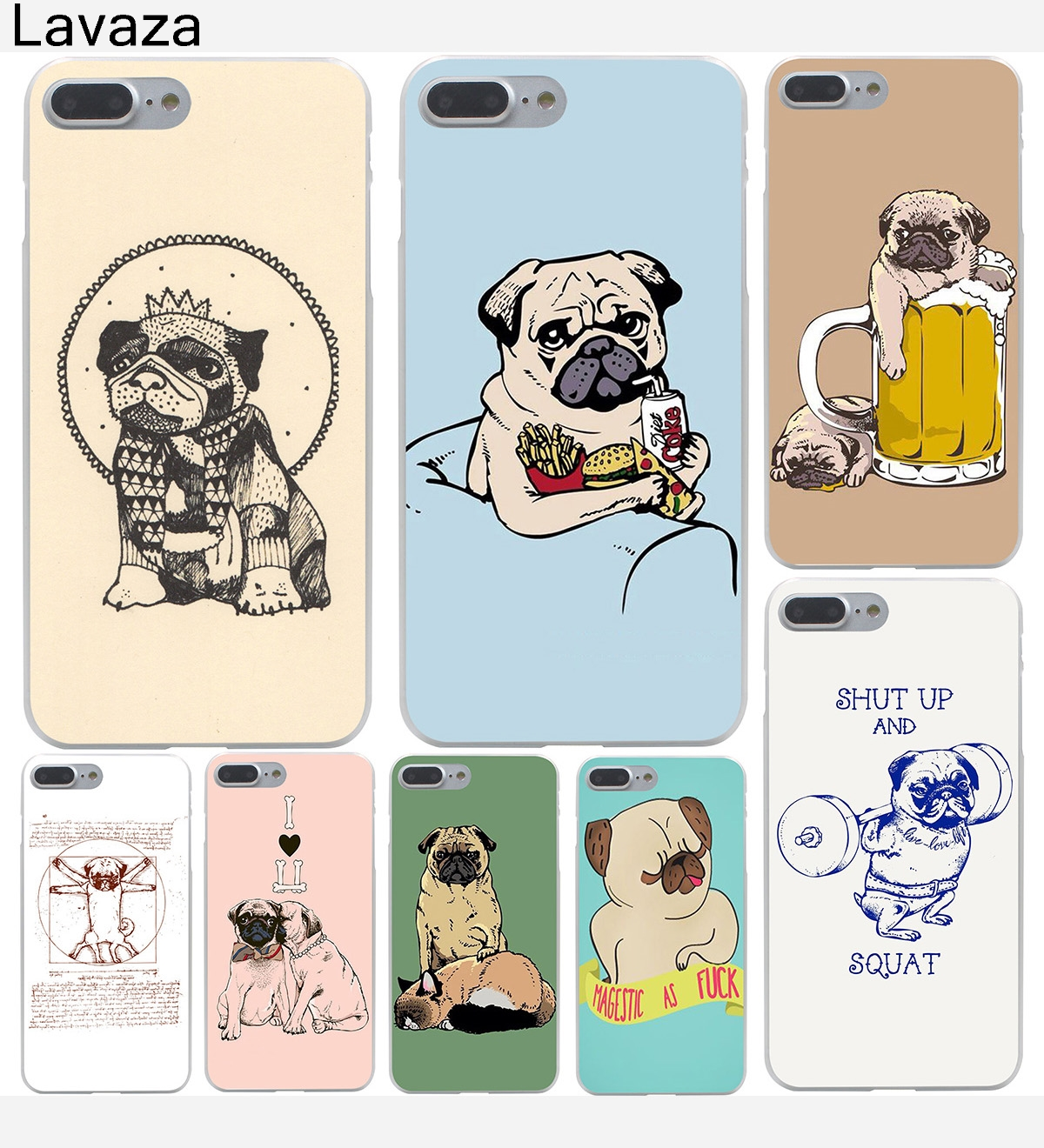 Lavaza Pug Dog Hard Phone Case For Apple Iphone X 10 7 6 6s 8 Plus Tpu 360 Full Cover 7g Softshell 5 5s Se 5c 4 4s Coque Shell
