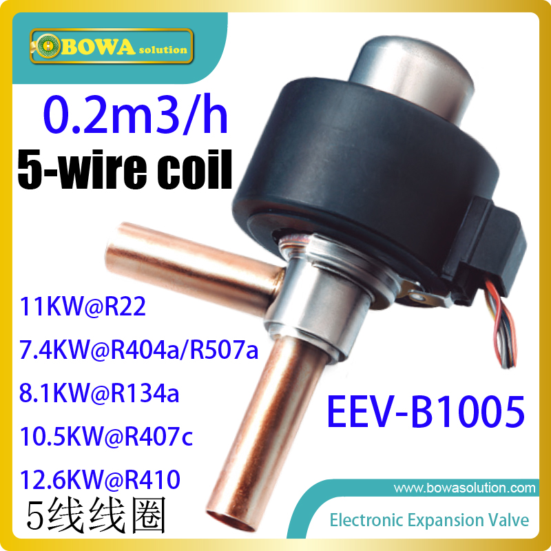 0.2m3/h EEV with 5-wire coil provides excellent throttle solution for ultra-high temperature 2-compessors cascade heat pump unit general and independent eev controller for twin compressor unit or 3 in 1 heat pump or dual temperature refrigeration equipments