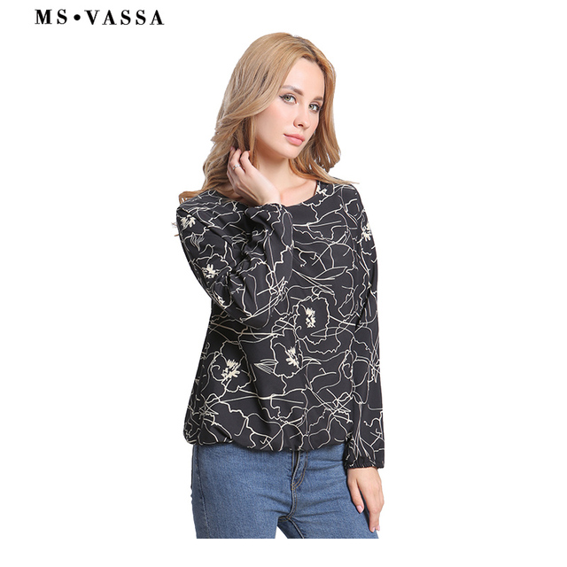 Black floral O-neck shirts long sleeve loose printed tops  3