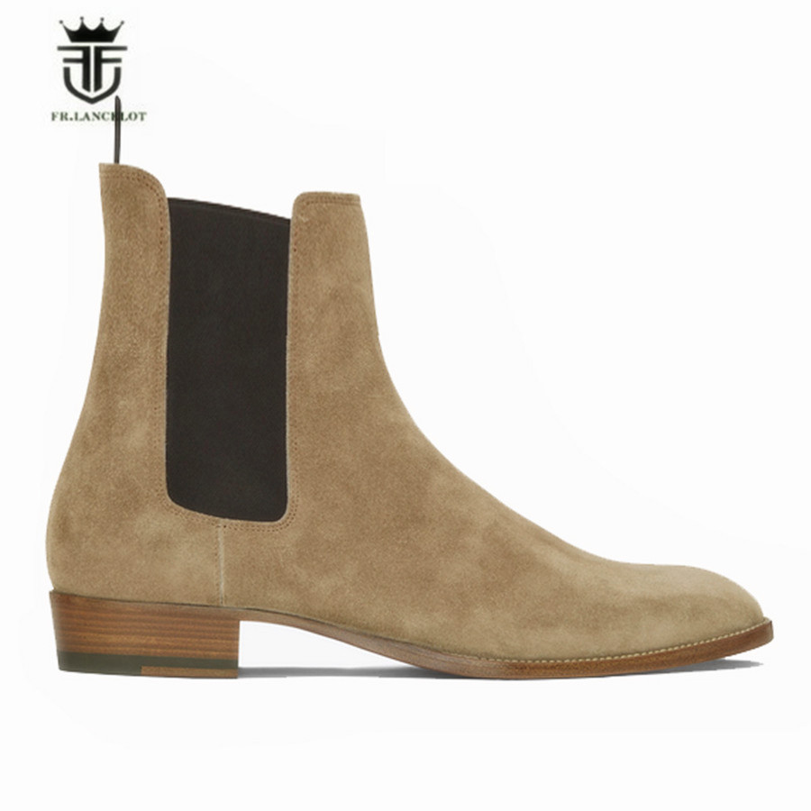2018 New Genuine Suede Leather Luxury Tan Chelsea Men Boots Kanyest West Street Quality Slip-On Genuine Leather Cowboy Boots new top grade gift pure tan wooden type h chun tan mu shu h kuan