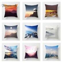 Fuwatacchi Snow Mountain Scenic Cushion Cover Lake Forest Throw Pillow Decorative Sofa Pillowcase For Car