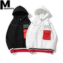 Moomphya 2019 New Patchwork Pocket Man Hoodie Streetwear Hip Hop Letter Hoody Sweatshirts Men Winter Fleece Warm Hoodies